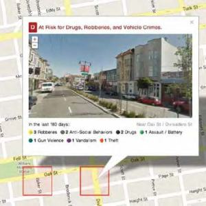 Image of a GPS map with a call out for a particular location shown with an image hovering above.