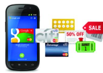 IMage of cell phone with a variety of credit cards and other coupons overlapping.