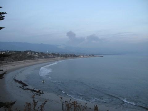 Flames almost reach Santa Barbara looking from the Santa Barbara Harbor toward Montecito. (Photo: Peter Hornemann)