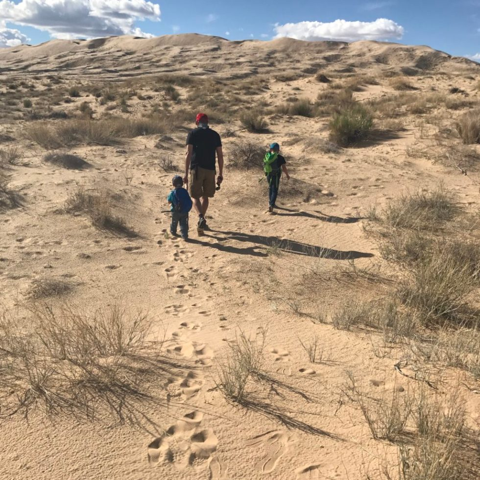 Hikinh on Kelso Dune with the boys