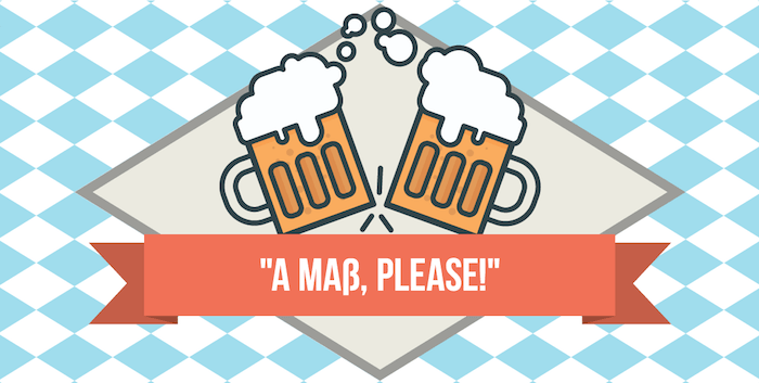 "illustration of two beers toasting, with phrase ""a maß, please"""