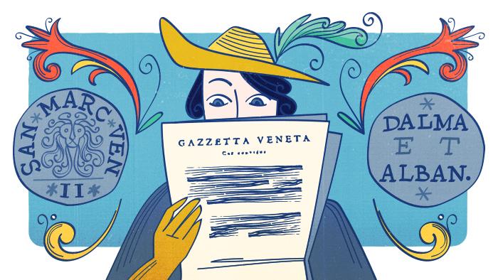 Un personnage lit la gazette vénitienne entourée de symboles de la république italienne
