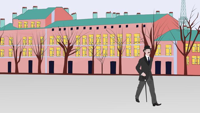 Un homme se promène dans le Paris d'autrefois avec la Tour Eiffel en arrière-plan