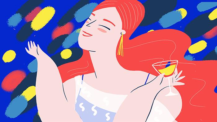 """Une fille souriante avec un verre d'alcool à la main illustre """"Piripi"""", qui compte parmi les expressions en espagnol les plus originales"""