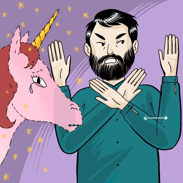 """Expression italienne """"Non esiste!"""" illustrée par un homme devant une licorne"""
