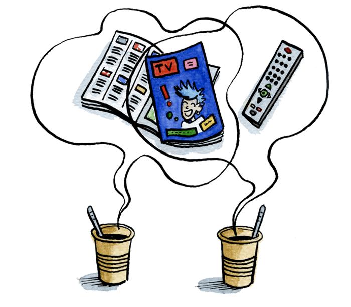 La télé est un des sujets préférés des espagnols pendant la pause-café