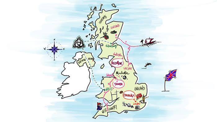 Karte der britischen Akzente