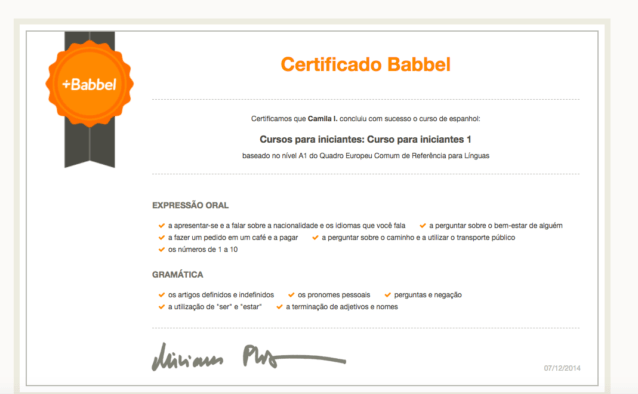 certificado Babbel