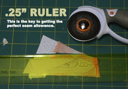 How to paper piece - use a quarter inch ruler