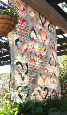 Hanging top view of my Whole Lotta Love Quilt