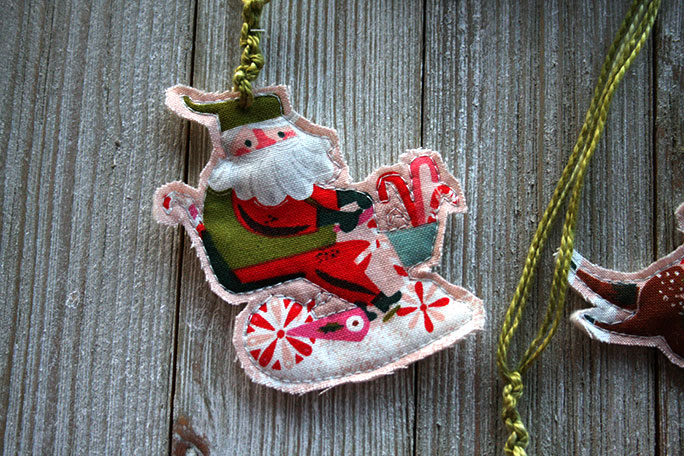 Santa Ornament made with Way Up North Fabric