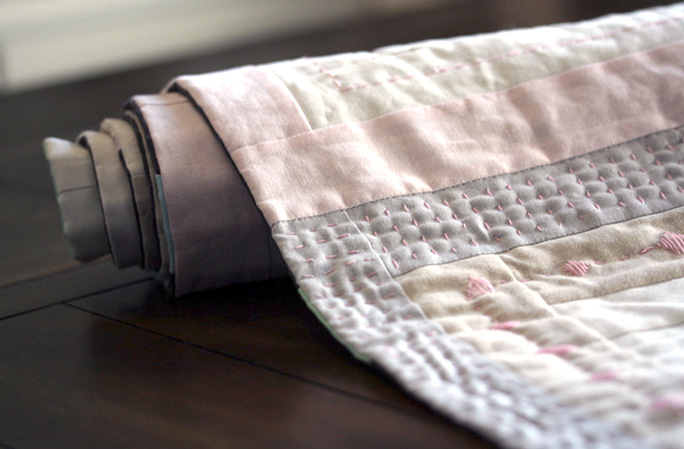 Spring Time Linen Table Runner rolled up