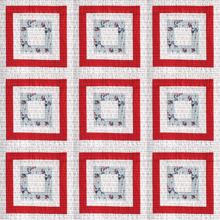 design a full quilt with one finished block using the Layout from Instagram app