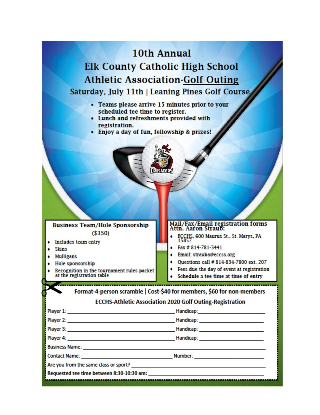 Accepting Golf Outing Registrations