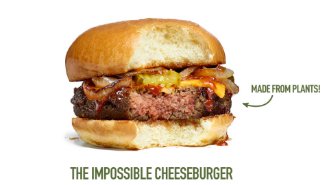 That patty is 0 percent beef, 100 percent plant. (Photo courtesy of Impossible Foods.)