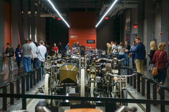 Evening event at the Harley Davidson Museum, HighEdWeb Milwaukee 2015