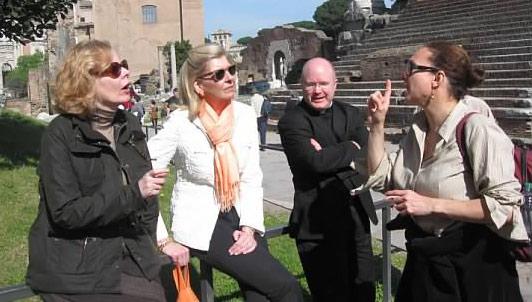 O'Beirne with Peggy Noonan, Fr. Roger Landry, and Elizabeth Lev in Rome