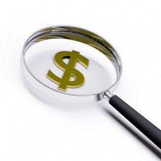 Money magnifying glass photo