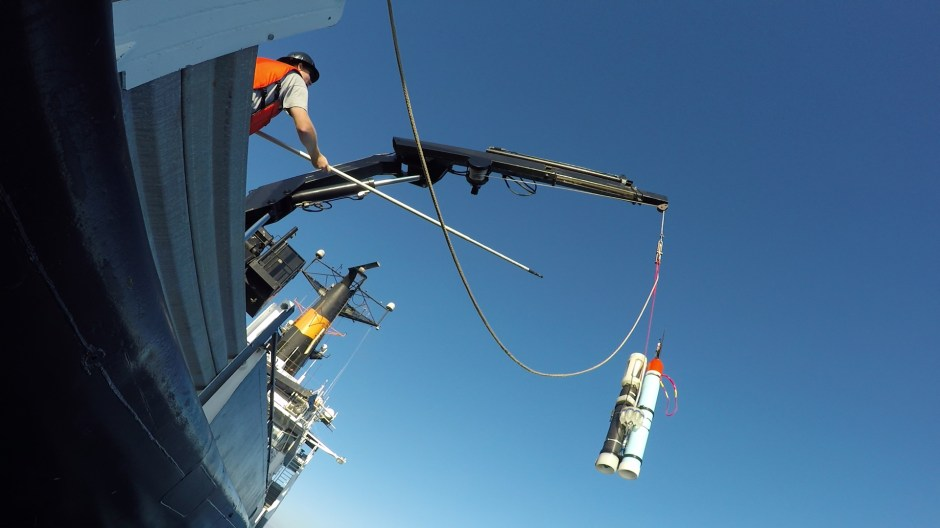Launching a robot from R/V Oceanus