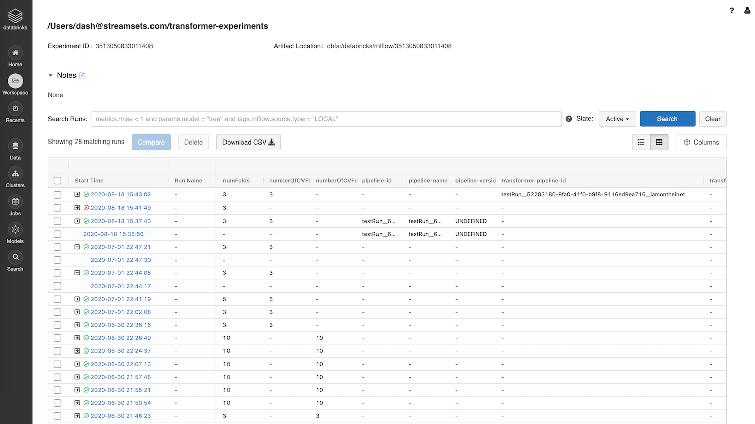 Model Experiments, Tracking and Registration using MLflow on StreamSets and Databricks
