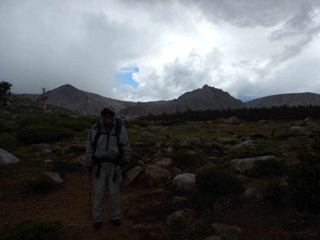 Hiking out in the rain for a bit. At least my dad was smiling!