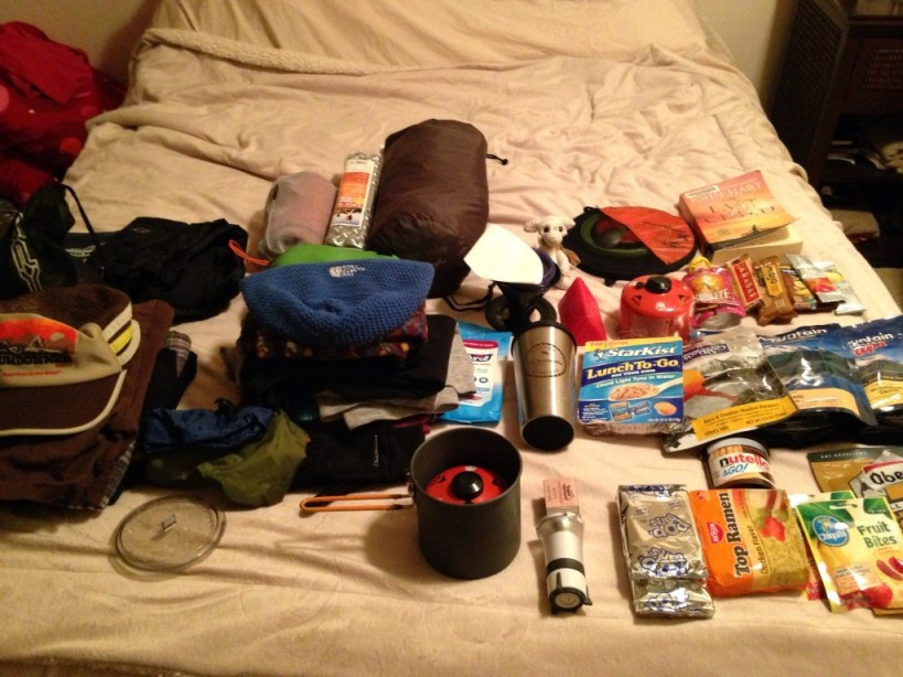 Packing gear for an overnight at Camp Muir. The sheer amount of food seemed ridiculous but hey, I was packing for a full 2 days up there!