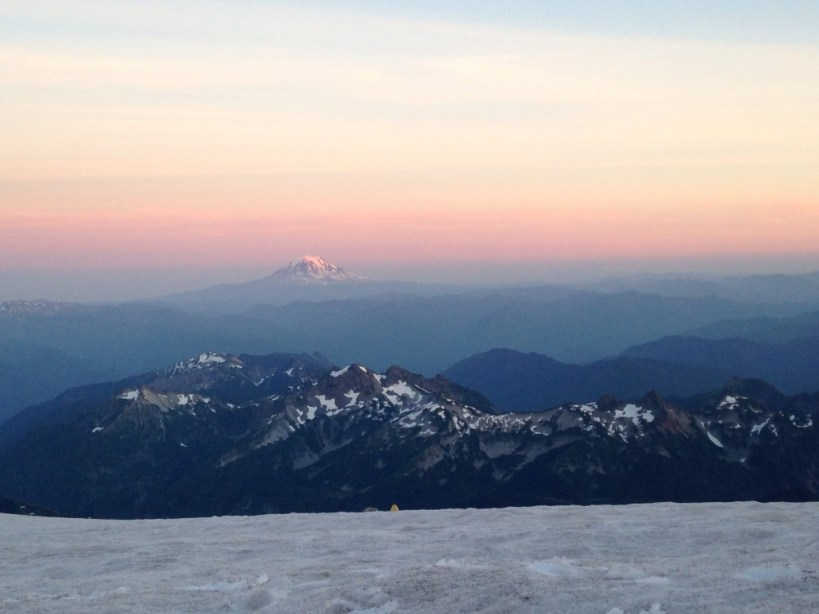 Mt Adams under a beautiful sunset from our campsite