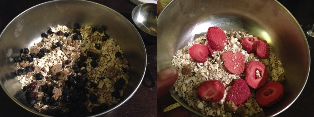 Tasty strawberry and blueberry homemade oatmeal
