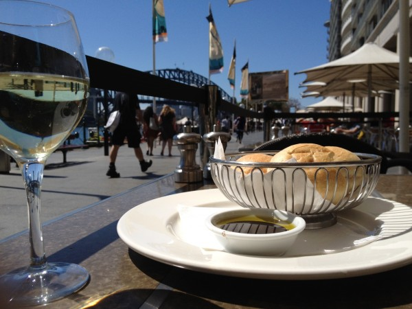 Enjoying the sunshine and expensive food in Sydney Harbor