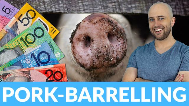 image shows pete smissen with a large pig's nose behind him and australian bank notes to the left with the text