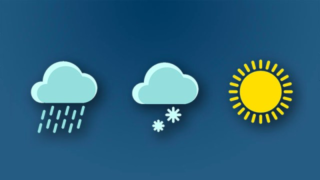 image shows weather icons of rain, snow, and the sun