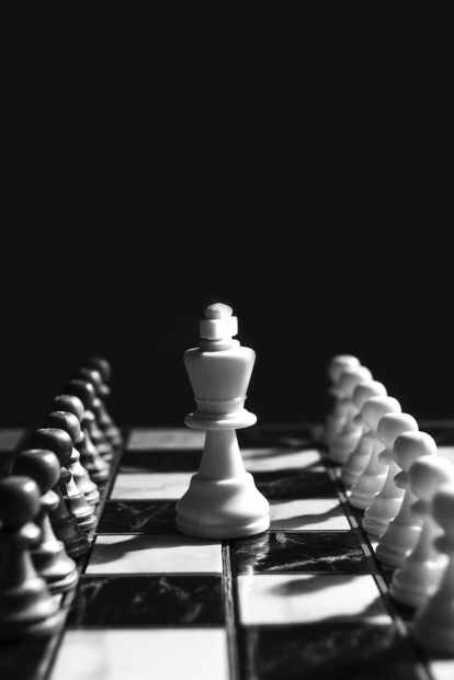 white king on middle chessboard