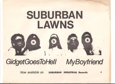 "Suburban Lawns 1980 'Gidget Goes To Hell "" Single flyer 