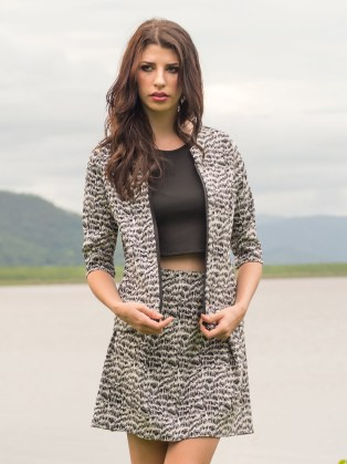 Tigress Jacket with Pleated Skirt in Wildcat by Sajeela Jamie.