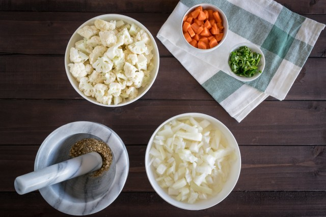 vegetables chopped, ready to make soup