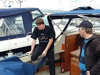 Første båttur etter amputasjonen 25. mai 2015