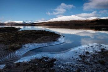 Icy shore of Loch Tulla