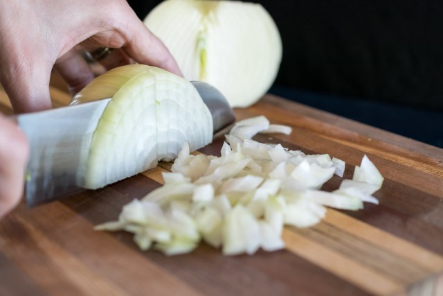 dicing the onion