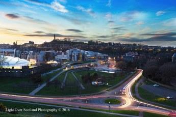 The Scottish Parliament at Sunset