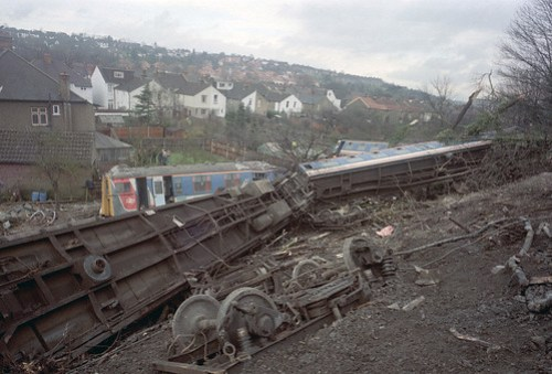 The collision derailed the train and six carriages careered down the embankment.