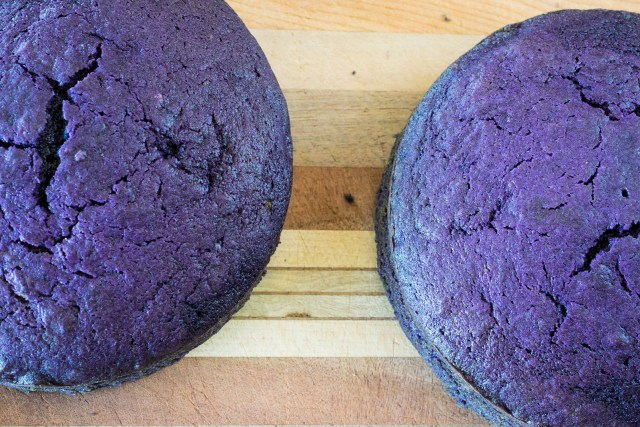 two ube cakes, fresh out of the oven