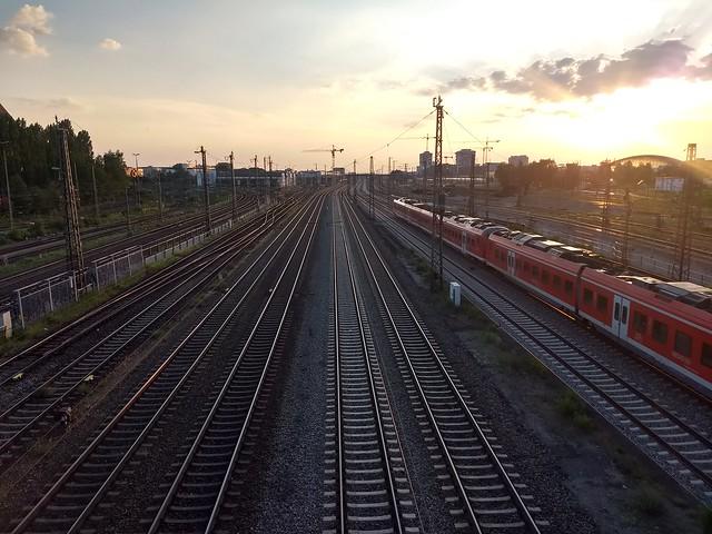 Sunset Trains Coming from Munich Haubtbahnhof