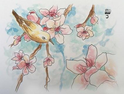 Cherry Blossom with Bird