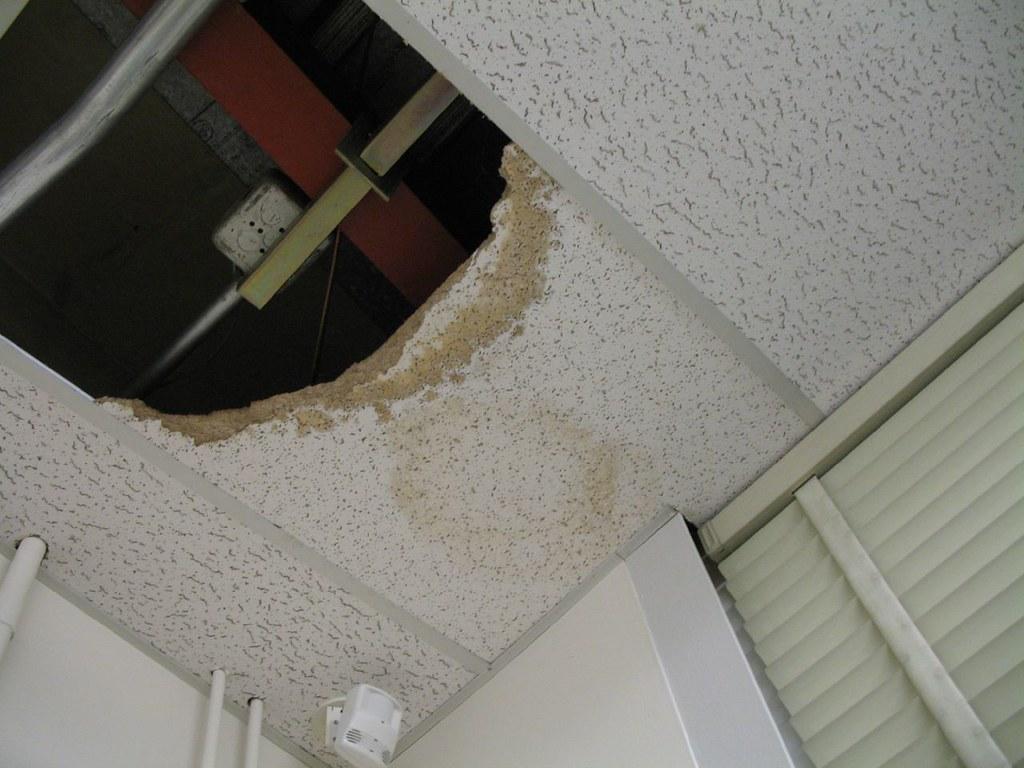 ceiling tiles broken hvac came to
