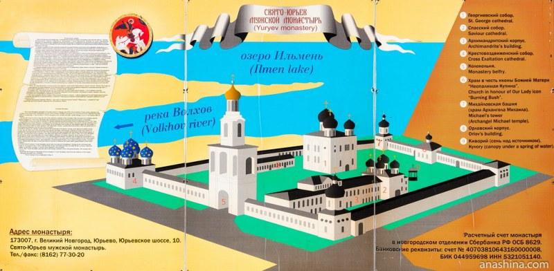 Схема построек Свято-Юрьева мужского монастыря, Великий Новгород