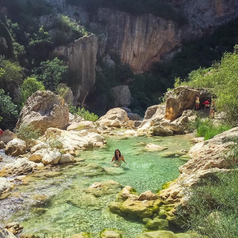 · Pozas del río Vero · Alquézar · Pasarelas de Alquézar · Ruta por el rio Vero · Huesca · Aragón ·