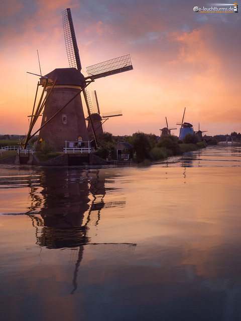 Kinderdijk on a summer's evening