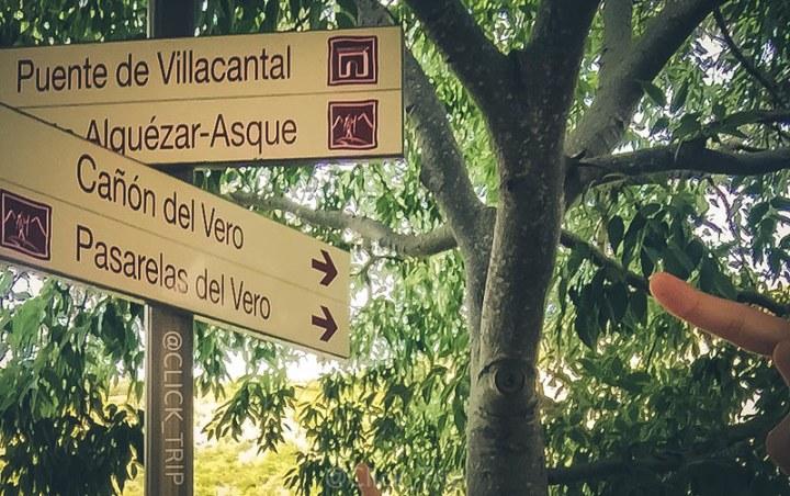 · Indicaciones a las pasarelas del Vero · Alquézar · Pasarelas de Alquézar · Ruta por el rio Vero · Huesca · Aragón ·