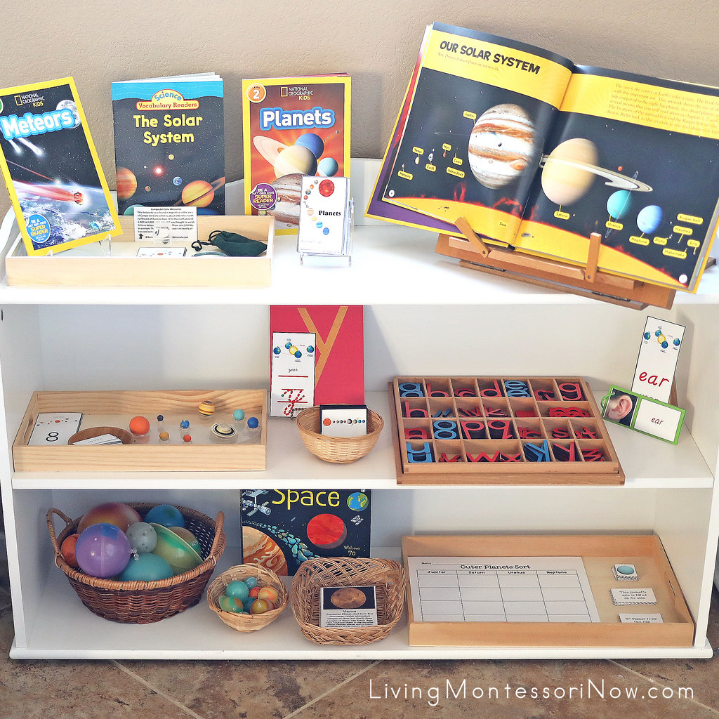 Montessori Shelves With Solar System Themed Activities