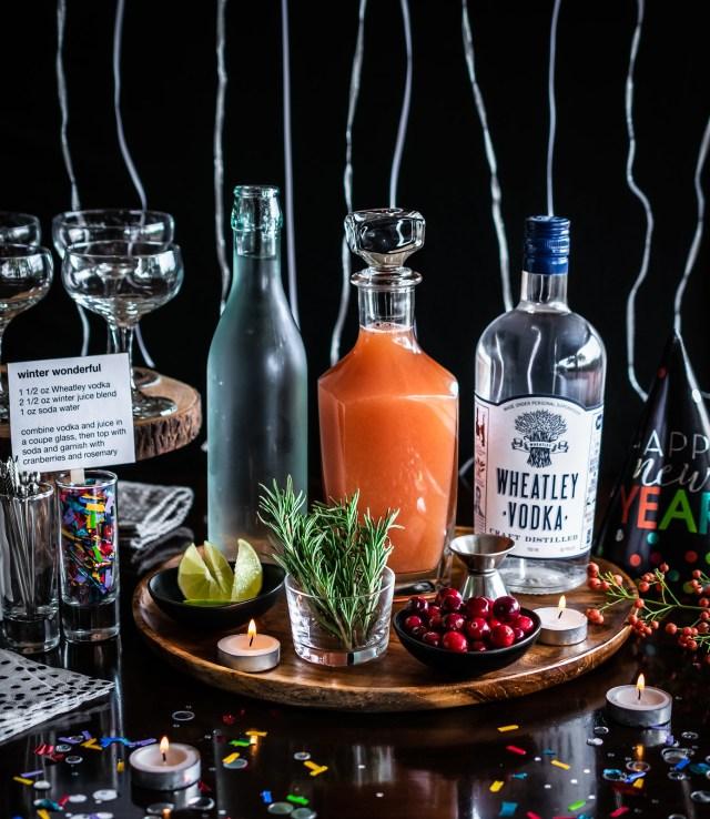 easy bar setup for DIY winter wonderful cocktails